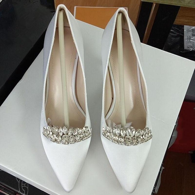 Glitter Crystal Mosaic Bridal Wedding Shoes High Heels Luxury Ladies Party Dress Pumps Fashion Sexy Pointy Toe Silk White Heels - 2