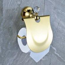 Недавно Золотой Настенный Ванная Комната Кристалл Brasstoilet Держатель Для Бумаги Рулон Вешалка Крышка Папиросной Бумаги