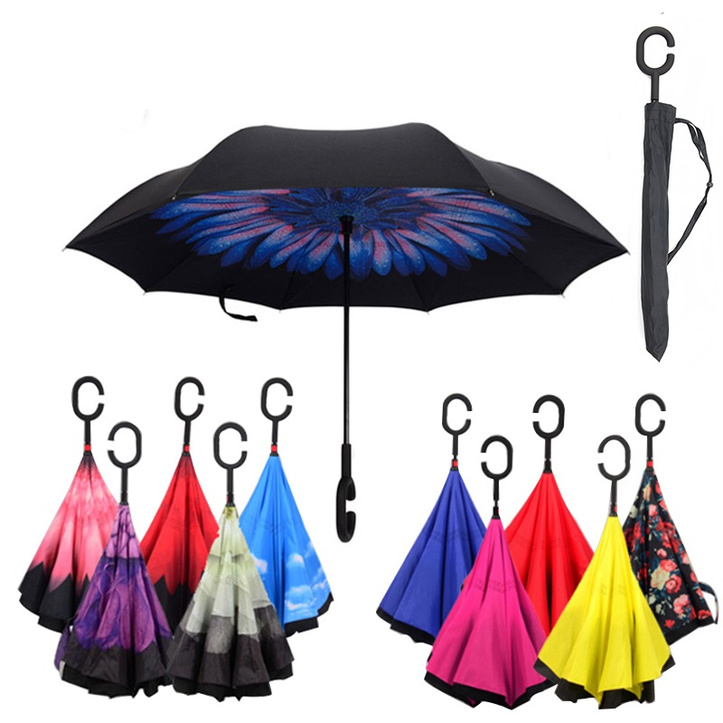 Home Non-automatic Reverse Inverted Folding Umbrella For Rain Gear Women Uv Protection Windproof Rainproof C Long-handle Umbrellas