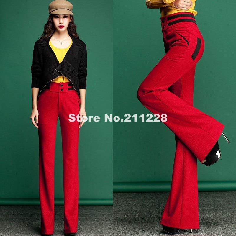 pantalonas para mulheres Fashion Formal Womens high Waist Red ...