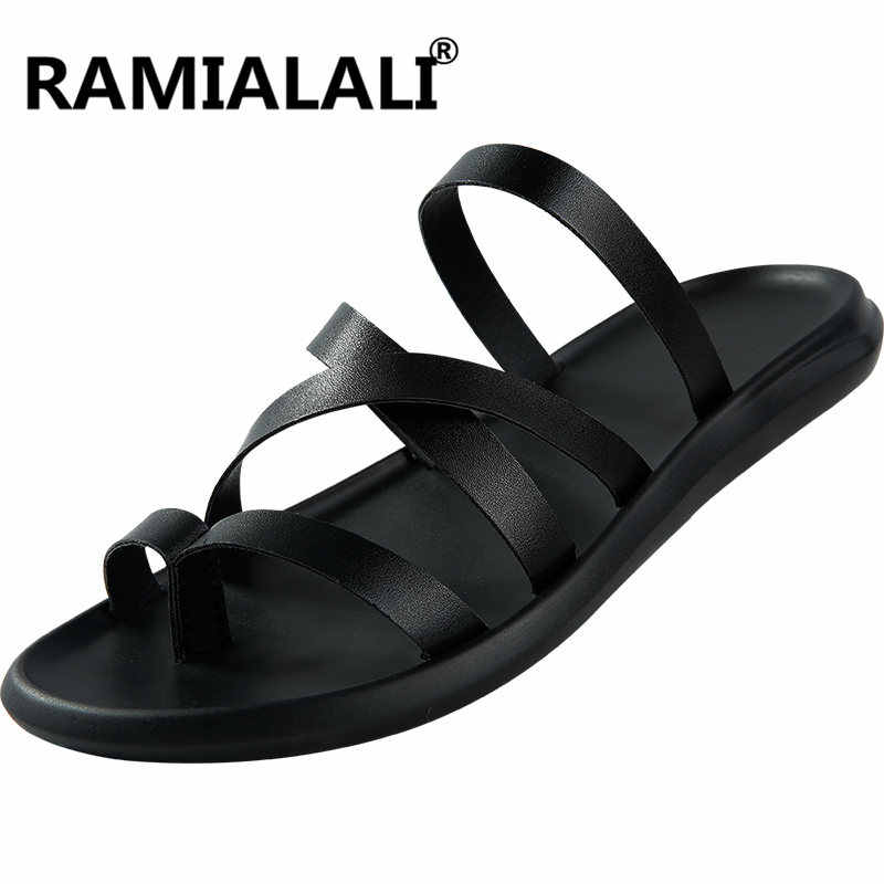5cd91ec9 ... Men Sandals Casual Summer Beach Slippers Leather Ankle Strap Cross-tied  Gladiator Sandals Thongs Shoes ...