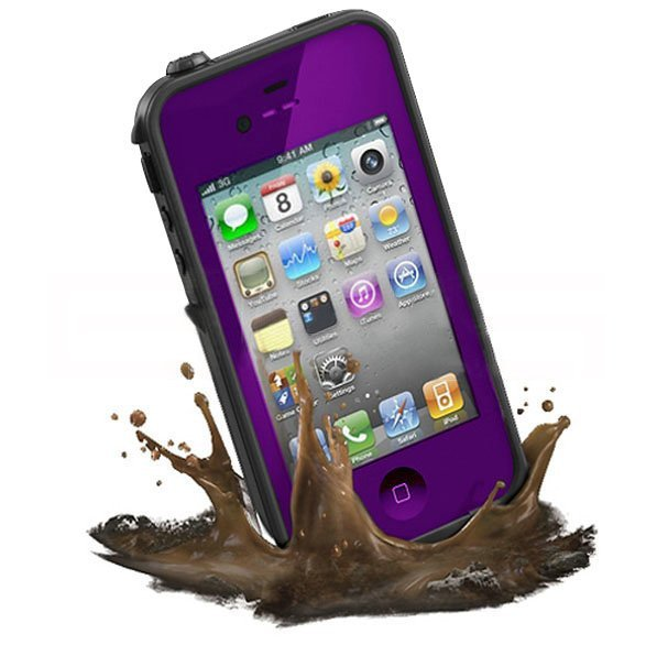 Purple Waterproof Shockproof PC Case Life Dirt Proof Cover Fit Apple iPhone 4 4S