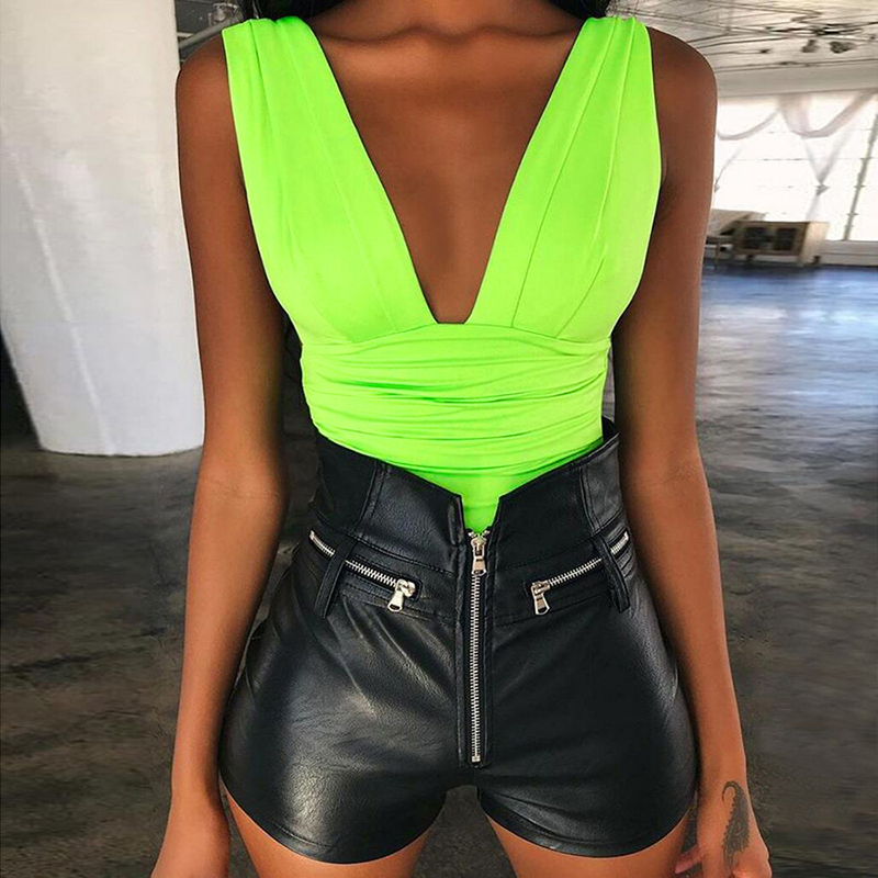 ZHYMIHRET 2018 Autumn Neon Color Ruched Bodysuit Women Sexy Deep V Neck Backless   Jumpsuit   Women Skinny Fluorescence Rompers