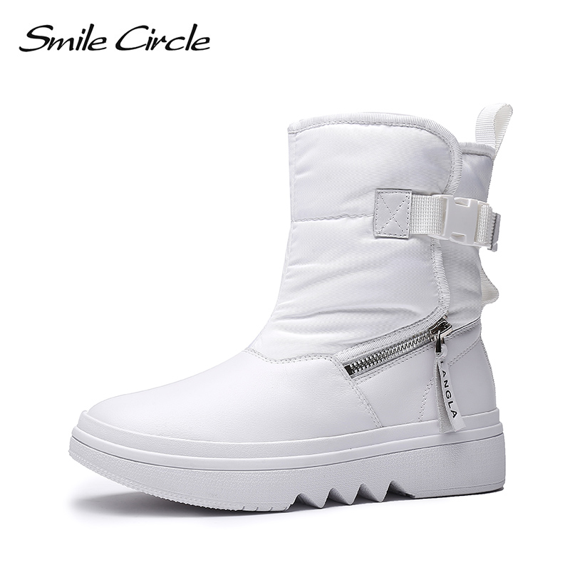 Smile Circle Snow boots Women Winter Shoes Genuine Leather Waterproof Thick bottom Flat platform Boots Winter Warm plush Shoes Smile Circle Snow boots Women Winter Shoes Genuine Leather Waterproof Thick bottom Flat platform Boots Winter Warm plush Shoes