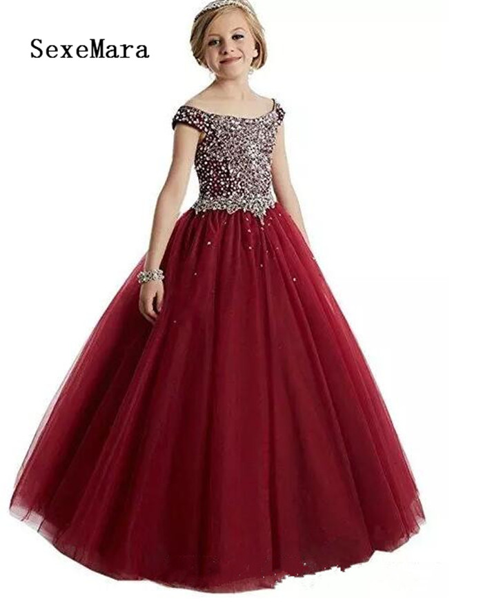 Elegant Girls Pageant Dresses 2018 Crystal Girl Communion Dress Ball Gown Kids Formal Wear Flower Girls Dresses for Wedding satin and feathers cerise color ball gown little girls dresses kids with pearls kids girls formal pageant dresses