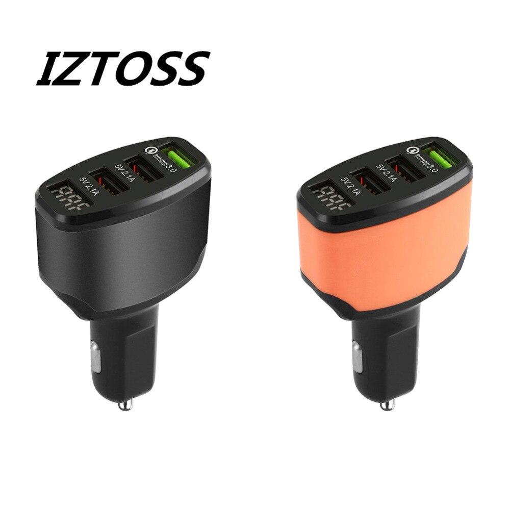 Iztoss 12-24 v 3 Puerto USB 4.2A carga rápida 3.0 cargador de coche adaptador de pantalla LED rápido potencia de carga para el iPhone Samsung