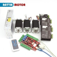 DE /RU Delivery!! USB port 3 Axis CNC Nema23 425oz in (Dual shaft) stepper motor & Motor Driver Controller Kit