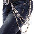 Rey libre nuevos hombres de moda 28 '' largo Jeans bolsillo cadena adjunto clava los pernos prisioneros de aguas termales 3 capas de la cadena dominante Pant cadena J32