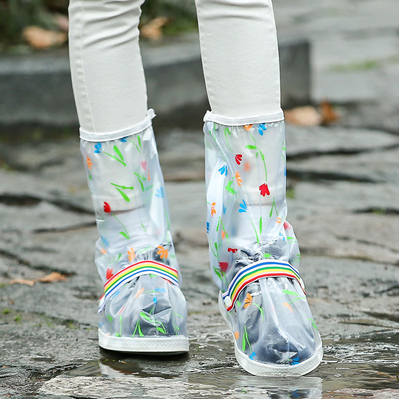 Impermeable lluvia Zapatos reutilizables cubierta espesamiento inferior antideslizante Botas de lluvia sobrezapatos hombres y mujeres niños cubierta de protección de zapatos