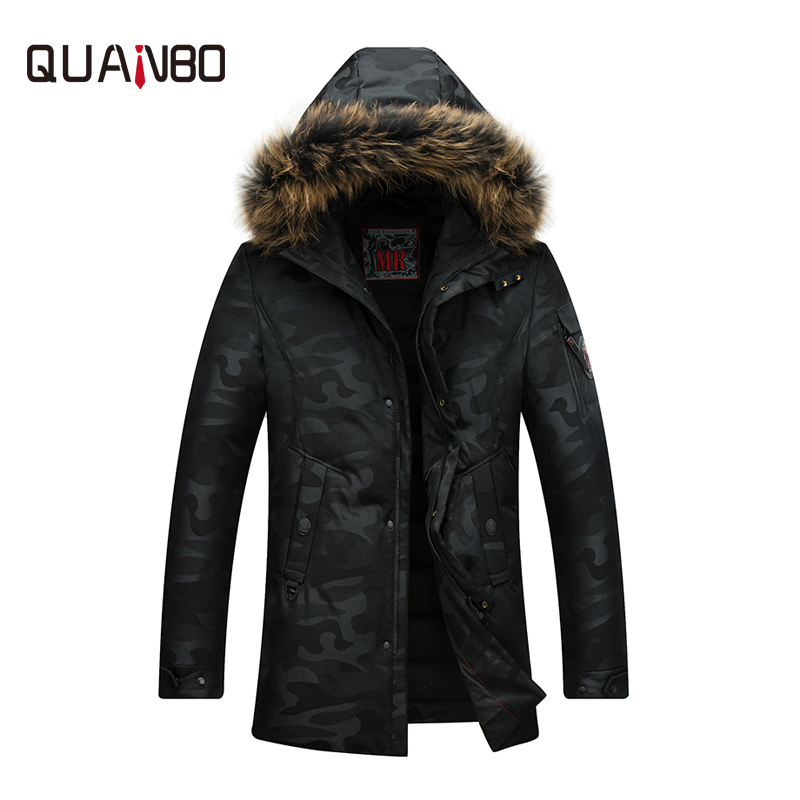 QUANBO New Fashion Camouflage  Winter Jackets 90% White Long Duck Down coat Mens Thick Warm raccoon hooded Parkas