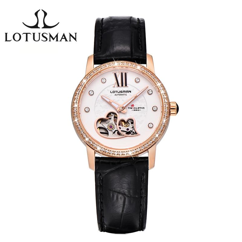 CUSTOMIZED LotusmaN Luxury Women Automatic Mechanical Watch Sapphire Diamond  Women Wristwatch Dress Watch Relogio Feminino L866 lotusman dl869twa women quartz watch