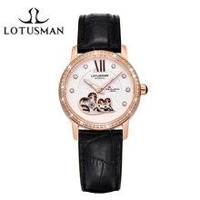 CUSTOMIZED LotusmaN Luxury Women Automatic Mechanical Watch Sapphire Diamond  Women Wristwatch Dress Watch Relogio Feminino L866