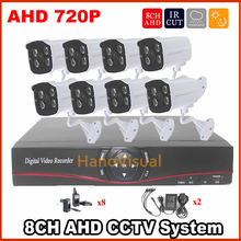 8CH DVR System outdoor IR-CUT Waterproof Surveillance CCTV Camera Kit 1.0 mp 720p Home Security digital network DVR video System