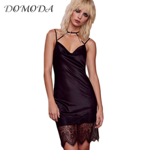 DOMODA 2017 Sleeveless Tie Front Cami Summer Dress Women Sexy Backless Hem Lace Vestidos Bodycon V Neck Mini Dress Female