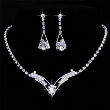 Womens Wedding Sparkling V Shaped Rhinestone Crystal Necklace Earrings Set Charm Bridesmaid Bridal Jewelry Set Silver Plated