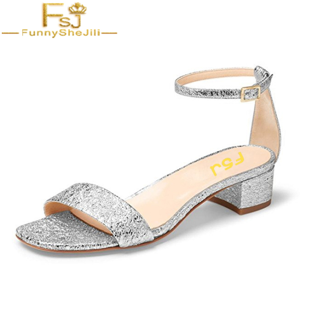 4c8544de8fc Women Low Block Heel Sandals Solid Ankle Strap Dress Pumps Open Toe Shoes  For Summer Bling Glitter Wedding Party FSJ Size 14 15