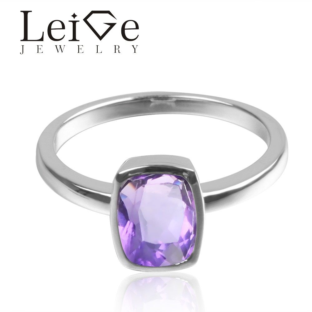 Leige Jewelry Natural Purple Color Amethyst Gem 925 Sterling Silver February Birthstone Cushion Cut Engagement Solitaire Rings кровать надувная iintex prestige downy queen 66969 203x152х22см
