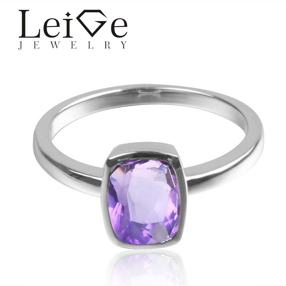 Leige bijoux naturel couleur pourpre améthyste Gem 925 argent Sterling février pierre de naissance coussin taille fiançailles Solitaire anneaux