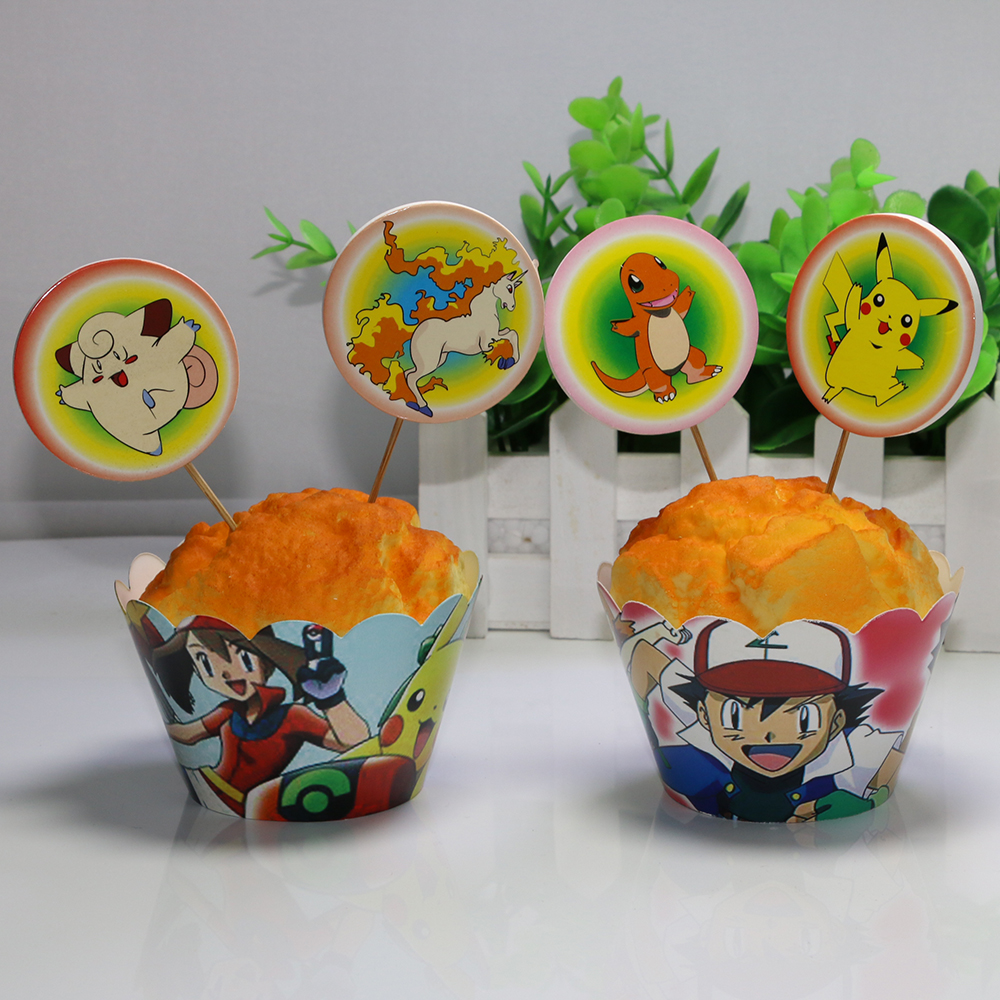 12sets Pokemon Go Pikachu Paper Cupcake Wrappers and ...
