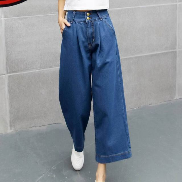 a6f65693 New arrival Denim Wide Leg Pants Mori Girl 2019 Fashion Women Loose High  Waist Straight Jeans button Casual Trousers Plus Size
