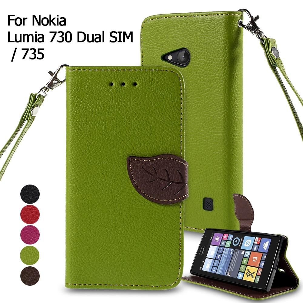 Dulcii Cover for Lumia 735 & 730 Dual SIM Mobile Phone Bag Leaf Magnetic PU Leather Wallet Phone Cases for Nokia Lumia 735 Shell