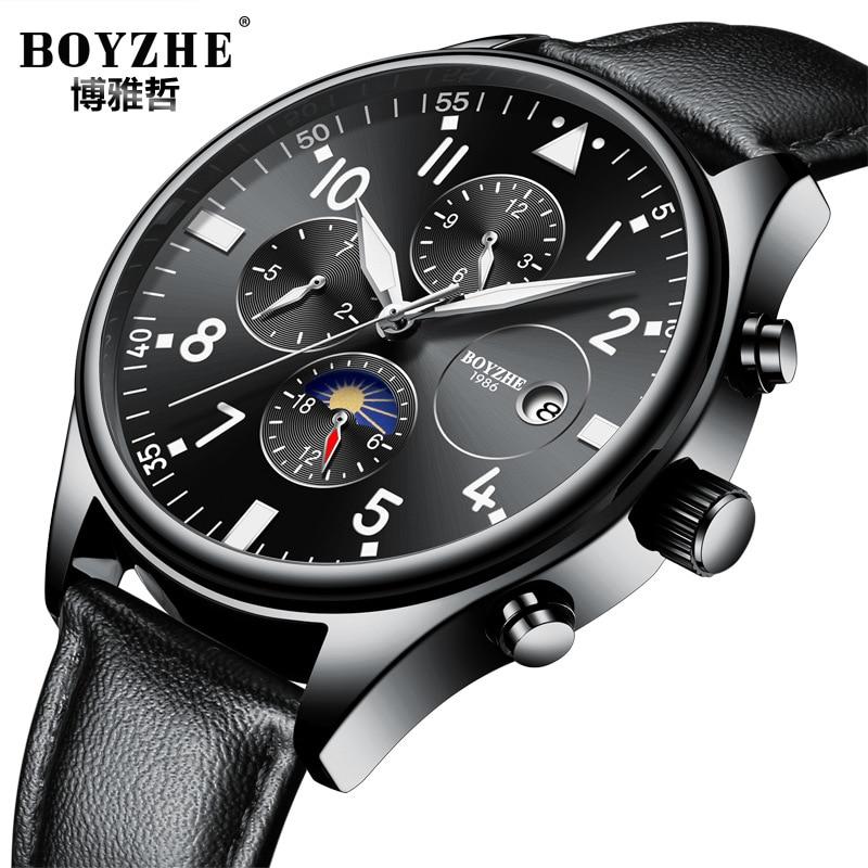 где купить mens wristwatches black genuine leather man watches mechanical Automatic luxury men waterproof Moon Phase calendar brand boyzhe по лучшей цене