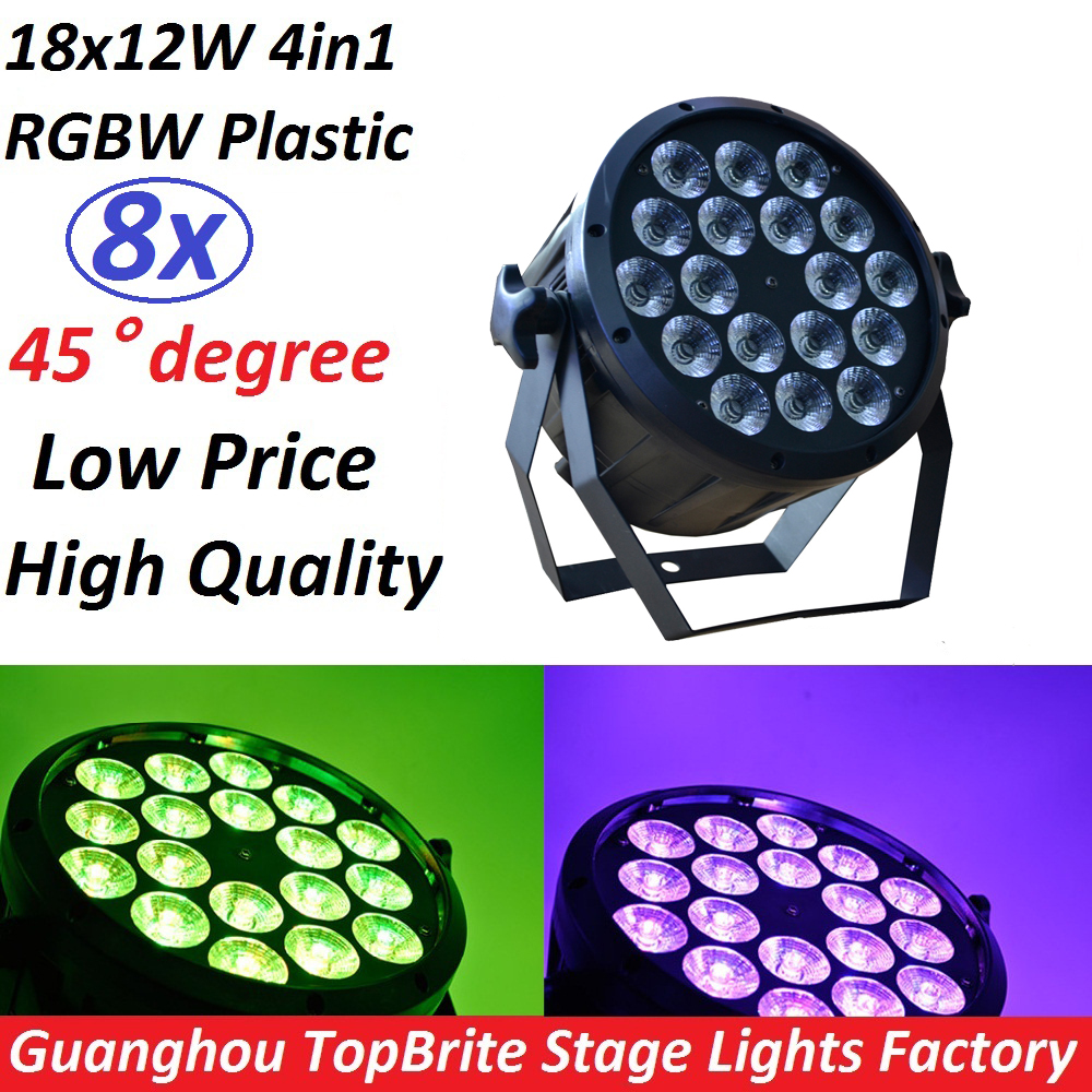 8xLot Professional LED Stage Lights 18x12W Led RGB PAR DMX Stage Lighting Effect DMX512 Master-Slave Flat for DJ Disco Party KTV ac100 240v 18 1w led stage light high power rgb par light dmx master slave led flat dj equipments luzes para festa disco lamp