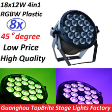 8xLot Professional LED Stage Lights 18x12W Led RGB PAR DMX Stage Lighting Effect DMX512 Master-Slave Flat for DJ Disco Party KTV