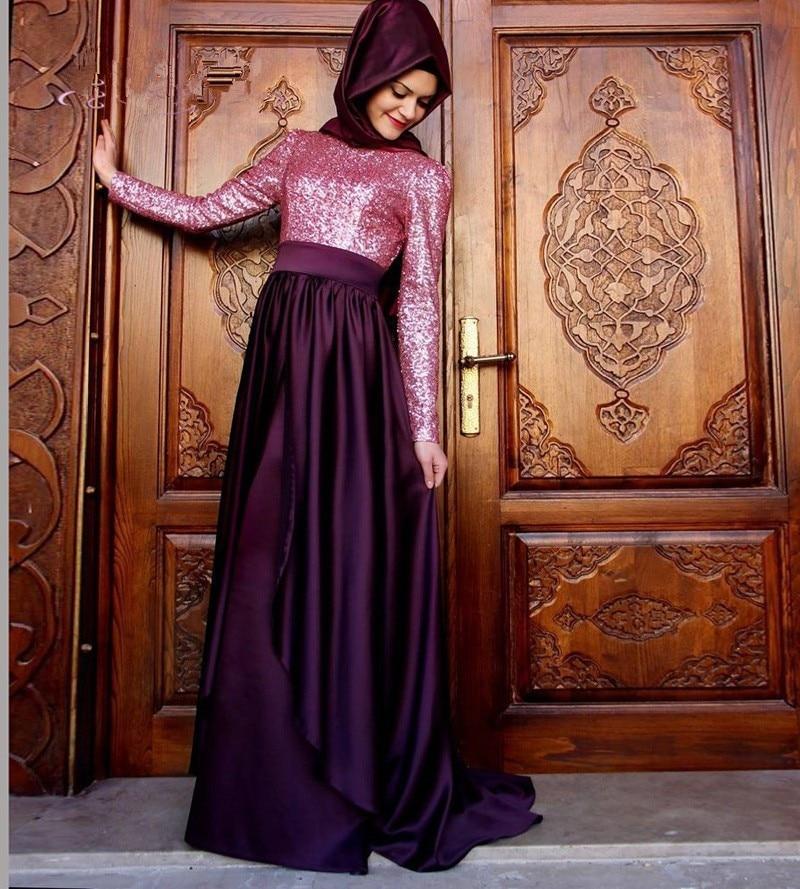 Hijab Long Sleeve Evening Dress Arabic Gowns 2016 New
