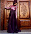 Hijab manga comprida vestido de noite vestidos 2016 nova barato elegante Sexy Pink lantejoula muçulmano árabe Prom vestidos de festa vestido