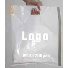 200 шт., Пользовательский логотип пластиковые хозяйственные сумки с ручкой, пластиковый мешочек для ювелирных изделий, подарочные сумки для переноски, сумки с ручками