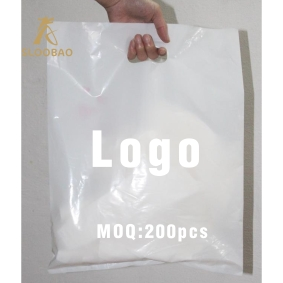 200 Pcs Custom Logo Plastic Shopping Bags With Handle, Plastic Jewelry Pouch Packing Gift Carrier Bags Handle Cloting Bags Wit