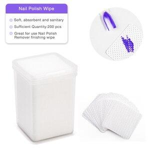 Image 4 - Removedor de unhas de algodão absorvente, removedor de fiapos, toalhetes de algodão para unhas, limpador não tóxico, 200 peças guardanapos para polimento