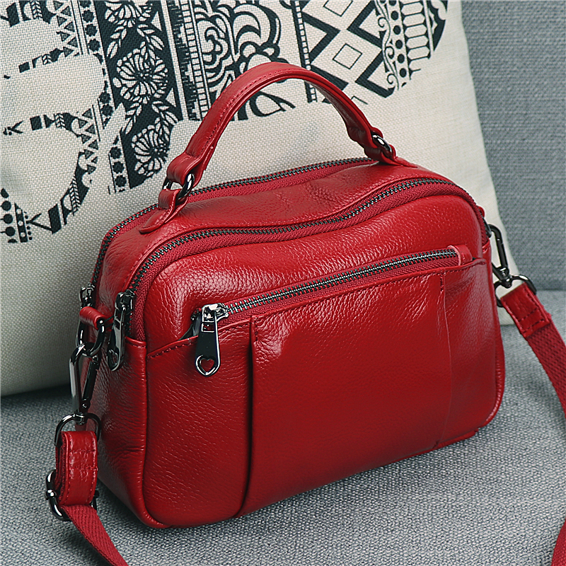 Spring bag female 2019 new fashion portable Messenger bag ladies shoulder bag first layer cowhide multilayer