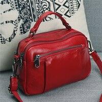 Spring bag female 2019 new fashion portable Messenger bag ladies shoulder bag first layer cowhide multilayer leather
