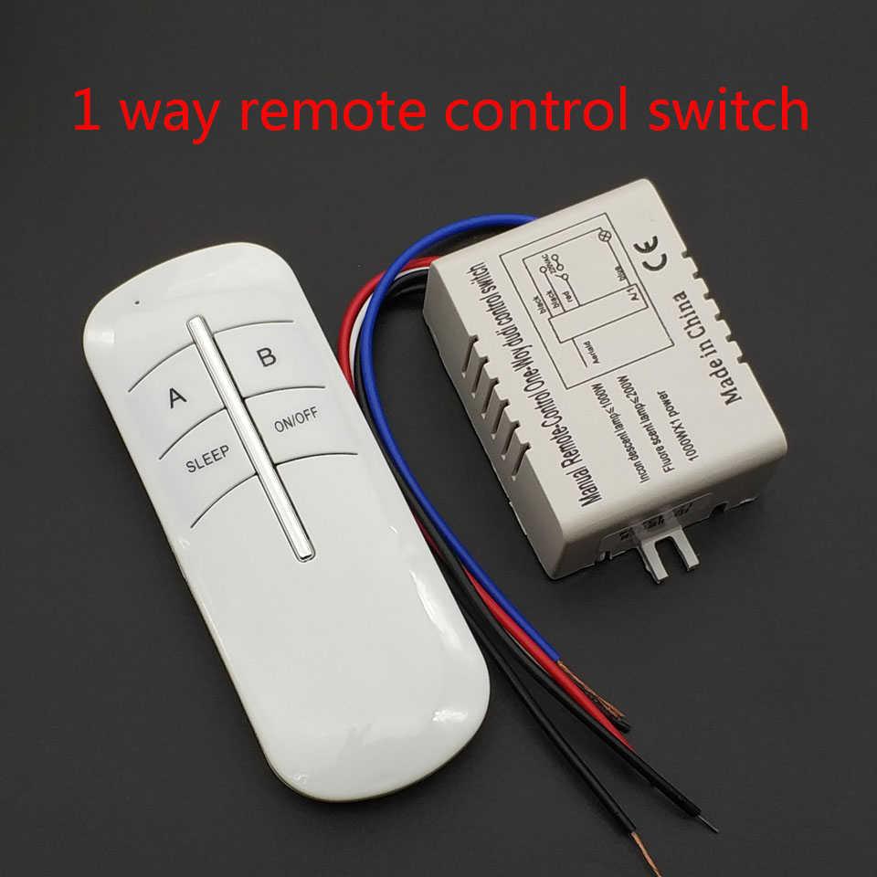 220V 1 Cara Nirkabel On/Off Lampu Remote Control Switch Receiver Transmitter