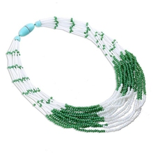 Handmade Chokers Necklaces for Women Layered Bead Necklaces Bohemian Statement Necklace Choker Jewelry Green Ketting