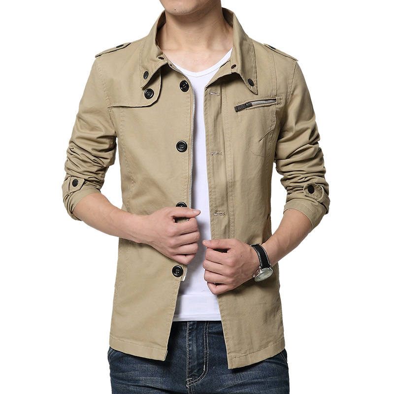 Soft Comfortable Jacket Men Slim Fit Solid Polyester Trench Thin ...
