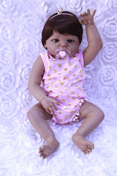 Girl Brinquedos Gifts 22inches full Silicone Reborn Dolls Kid's Toys Cute Princess DIY Dolls girl Baby Enlightenment Dolls Xmas