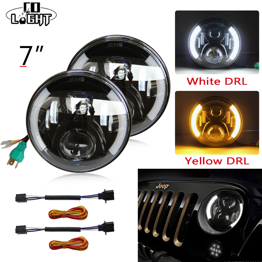 CO LIGHT 7'' Round Led Car Headlights with White Angelic Eyes 80W The Daytime Running Lights Waterproof for LADA NIVA Toyota наушники frends the light straight white