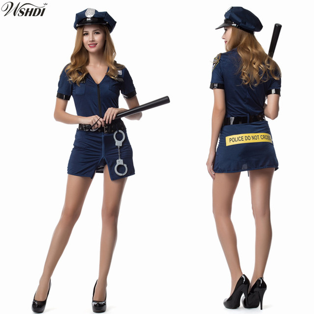 2018 New Blue Women Sexy Police Officer Cosplay Costume Cops Fancy Dress Ladies Halloween Costume Police  sc 1 st  AliExpress.com & 2018 New Blue Women Sexy Police Officer Cosplay Costume Cops Fancy ...