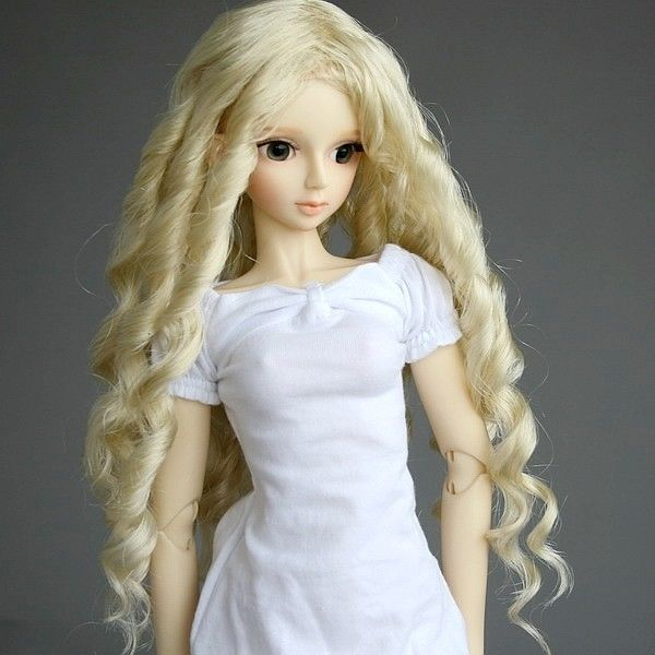 13# Blonde Wavy Crimp Long Wig 1/3 SD AOD DOD DZ BJD Dollfie 8-9 купить