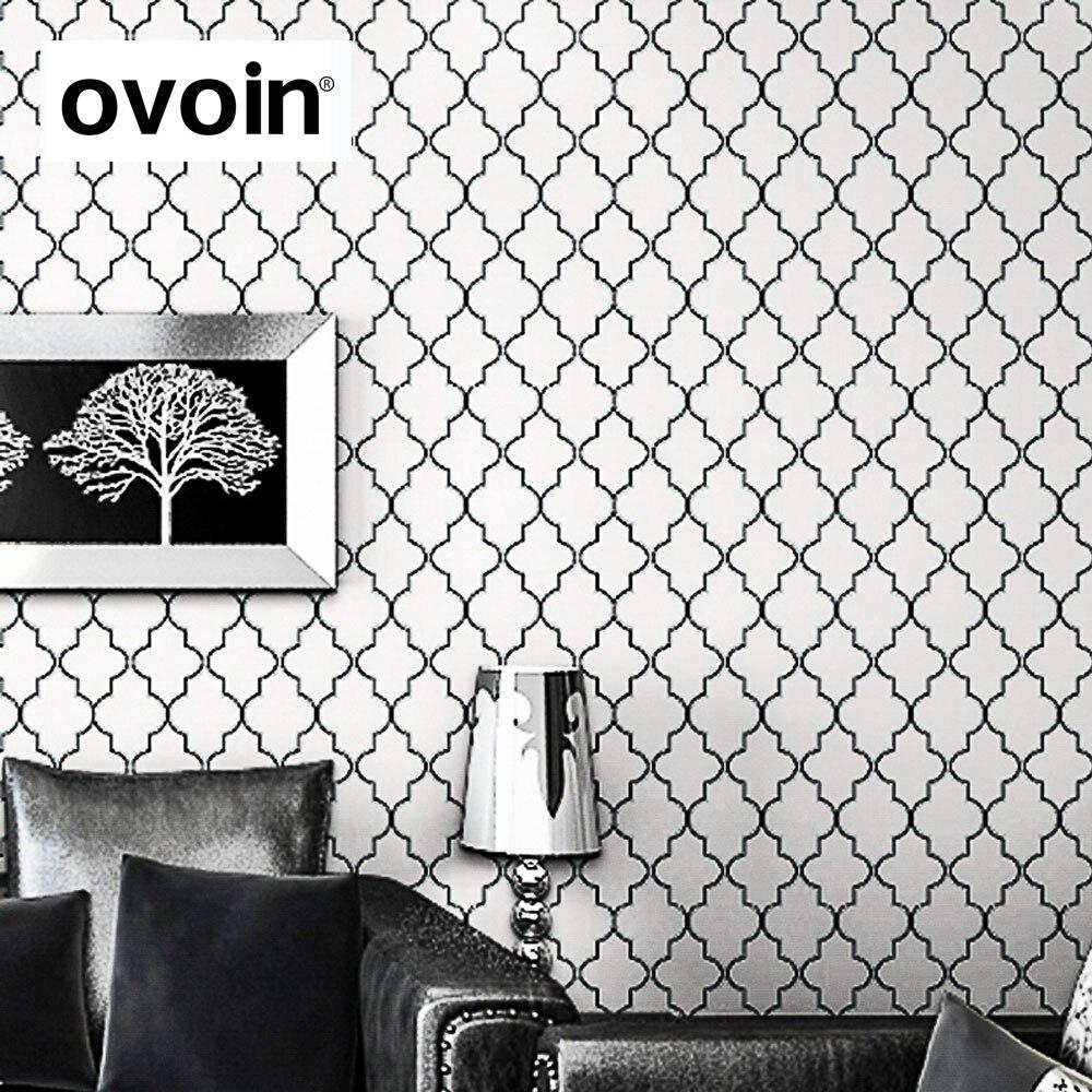 Moroccan Trellis Black White Modern Geometric Pattern Wallpaper Roll Bedroom Wall Cover Paper Live Room Sofa Background Decor