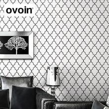 Marokkanischen Spalier Schwarz Weiß Moderne Geometrische Muster Tapete Rolle Quatrefoil Wand Papier Schlafzimmer Live zimmer Hintergrund Decor