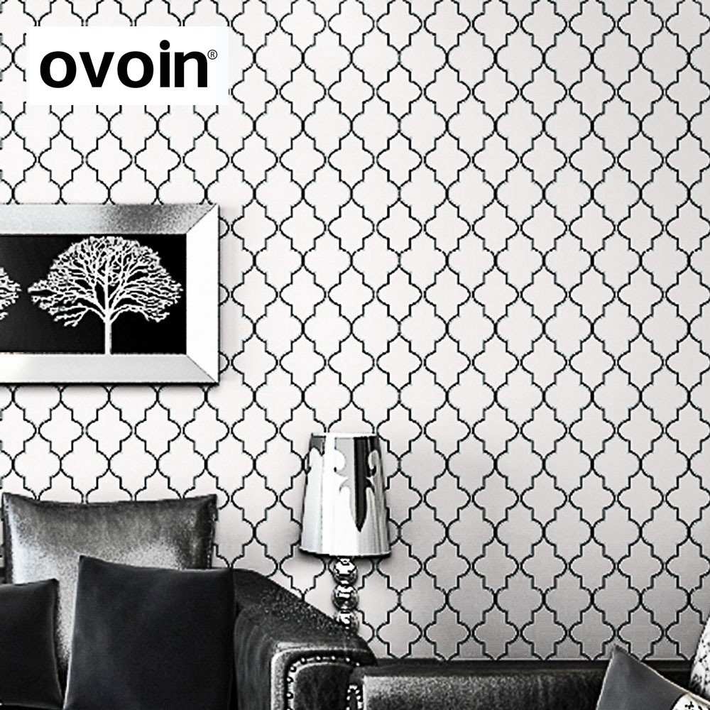 Moroccan Trellis Black White Modern Geometric Pattern Wallpaper Roll ...