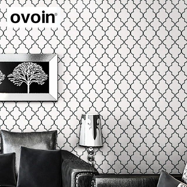Moroccan Trellis Black White Modern Geometric Pattern Wallpaper Roll Bedroom  Wall Cover Paper Live Room Sofa