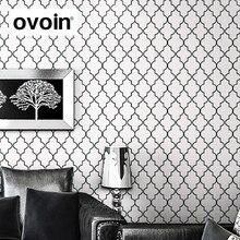 Moroccan Trellis Black White Modern Geometric Pattern Wallpaper Roll Quatrefoil Wall Paper Bedroom Live room Background Decor
