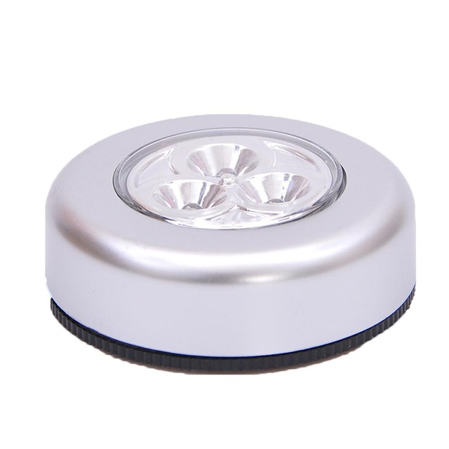 1pcs 3LED touch lamp pat lights Car Ceiling Wall Cabinet Light Round Battery Powered Stick Tap Touch Light Click Lamp