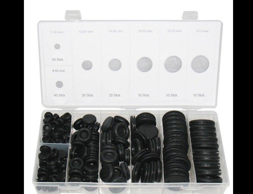 170 pcs Black Rubber Grommet Firewall Buraco Plugue Anel de Retenção Conjunto Kit de Vedação Fio Elétrico Para A Válvula Do Cilindro de Água Do Carro pipe