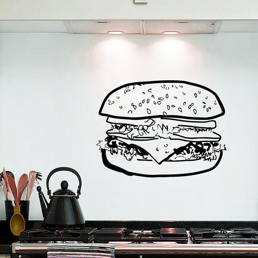 Free Shipping new house Wall Decals Big Burger Sandwich Fast Food ...